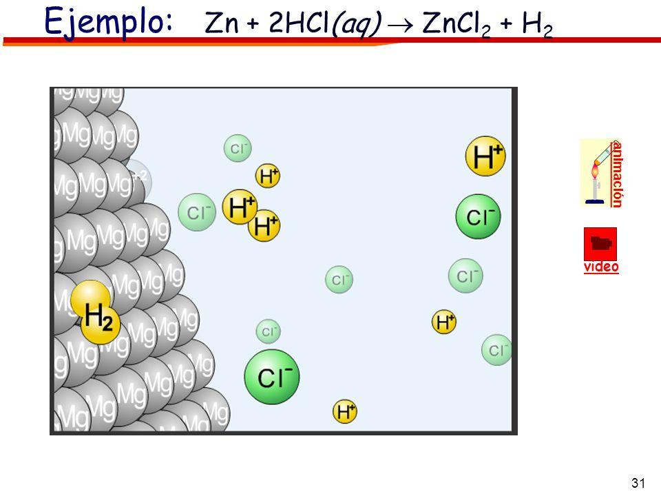 31 video animación Ejemplo: Zn + 2HCl(aq) ZnCl 2 + H 2