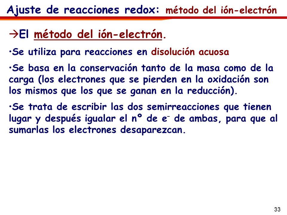 33 Ajuste de reacciones redox: método del ión-electrón El método del ión-electrón. Se utiliza para reacciones en disolución acuosa Se basa en la conse
