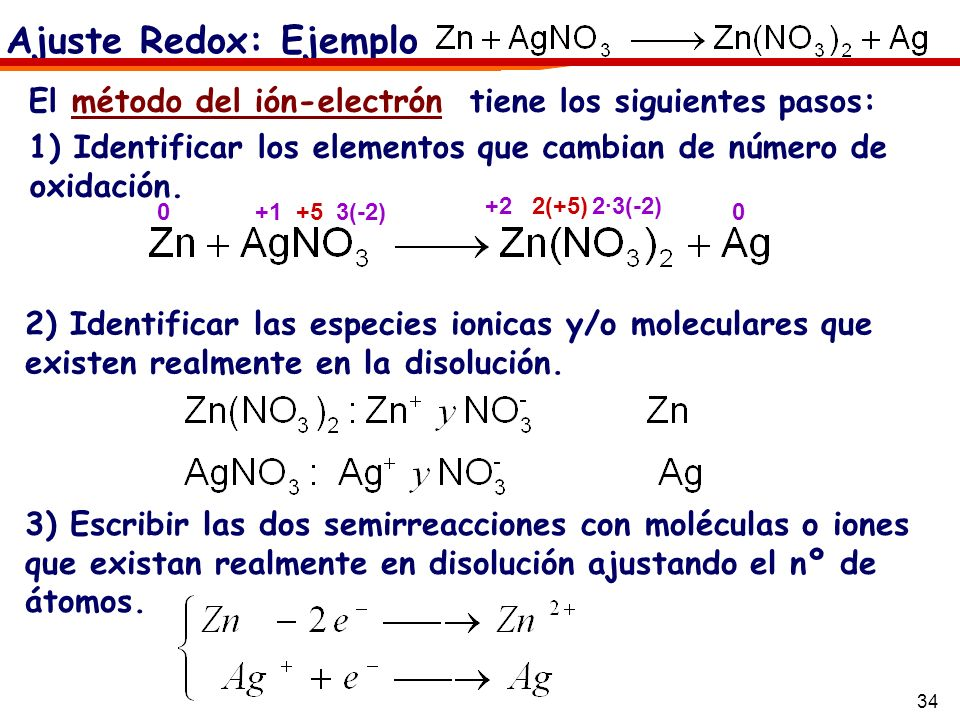 34 Ajuste Redox: Ejemplo El método del ión-electrón tiene los siguientes pasos: 1) Identificar los elementos que cambian de número de oxidación. +1 3(