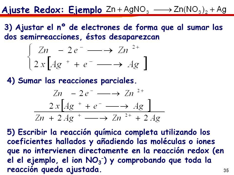 35 4) Sumar las reacciones parciales. 5) Escribir la reacción química completa utilizando los coeficientes hallados y añadiendo las moléculas o iones