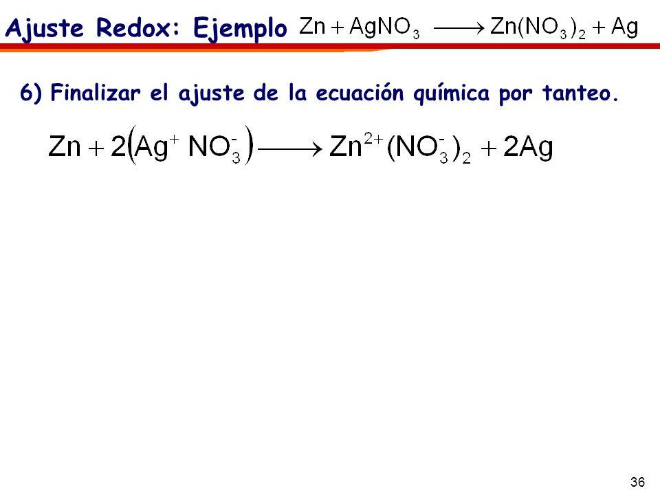 36 6) Finalizar el ajuste de la ecuación química por tanteo. Ajuste Redox: Ejemplo