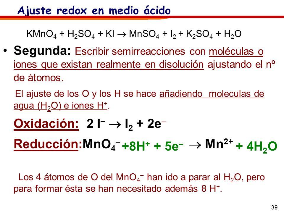 39 Segunda: Escribir semirreacciones con moléculas o iones que existan realmente en disolución ajustando el nº de átomos. El ajuste de los O y los H s