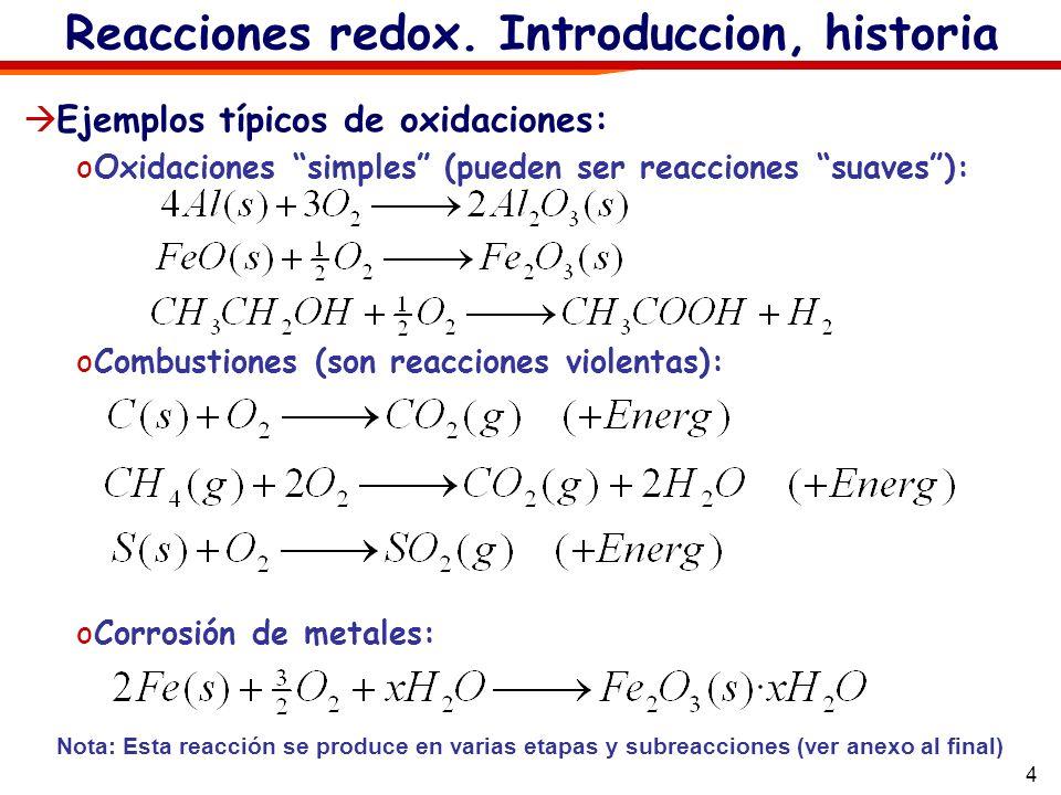 4 Reacciones redox. Introduccion, historia Ejemplos típicos de oxidaciones: oOxidaciones simples (pueden ser reacciones suaves): oCombustiones (son re
