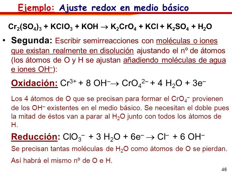 46 Segunda: Escribir semirreacciones con moléculas o iones que existan realmente en disolución ajustando el nº de átomos (los átomos de O y H se ajust