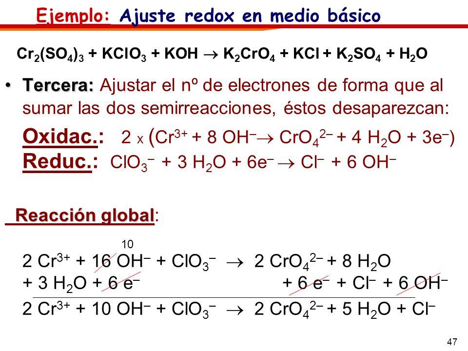 47 Tercera:Tercera: Ajustar el nº de electrones de forma que al sumar las dos semirreacciones, éstos desaparezcan: Oxidac.: 2 x ( Cr 3+ + 8 OH – CrO 4