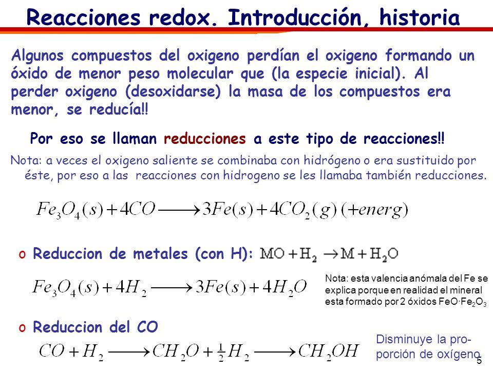 5 oReduccion de metales (con H): Reacciones redox. Introducción, historia Algunos compuestos del oxigeno perdían el oxigeno formando un óxido de menor