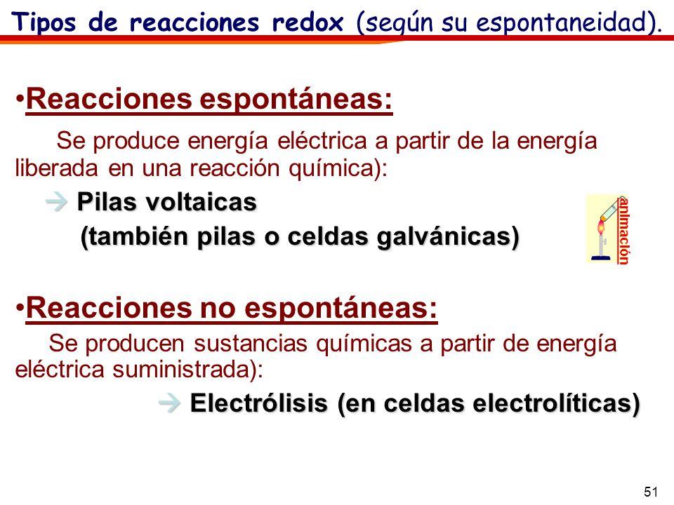 51 Tipos de reacciones redox (según su espontaneidad). animación Reacciones espontáneas: Se produce energía eléctrica a partir de la energía liberada