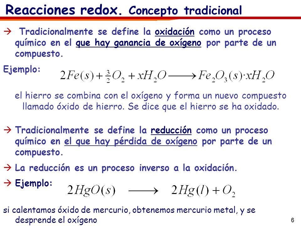 6 Tradicionalmente se define la reducción como un proceso químico en el que hay pérdida de oxígeno por parte de un compuesto. La reducción es un proce