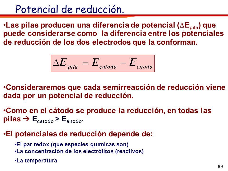 69 Potencial de reducción. Las pilas producen una diferencia de potencial ( E pila ) que puede considerarse como la diferencia entre los potenciales d