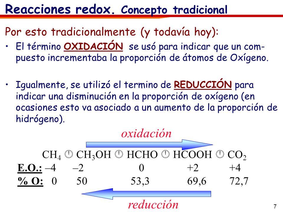 7 Por esto tradicionalmente (y todavía hoy): El término OXIDACIÓN se usó para indicar que un com- puesto incrementaba la proporción de átomos de Oxíge