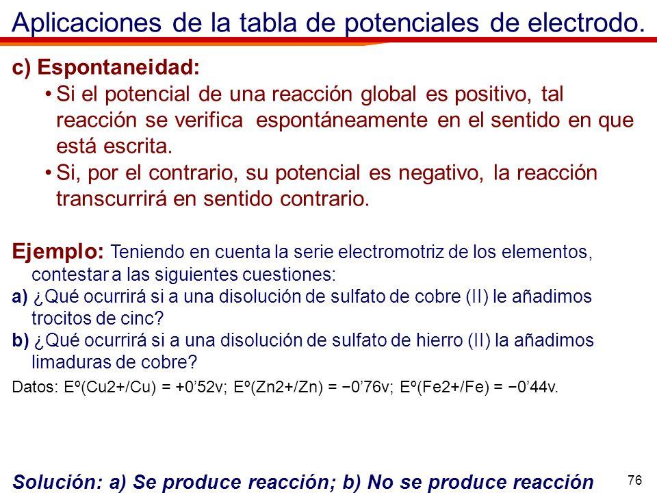 76 Aplicaciones de la tabla de potenciales de electrodo. c) Espontaneidad: Si el potencial de una reacción global es positivo, tal reacción se verific