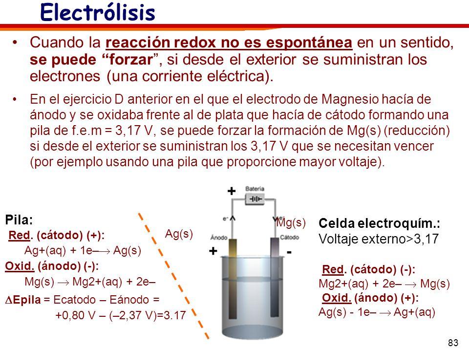83 +- + Electrólisis Cuando la reacción redox no es espontánea en un sentido, se puede forzar, si desde el exterior se suministran los electrones (una