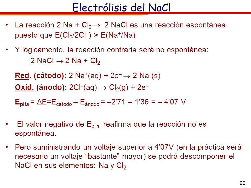 90 Electrólisis del NaCl La reacción 2 Na + Cl 2 2 NaCl es una reacción espontánea puesto que E(Cl 2 /2Cl – ) > E(Na + /Na) Y lógicamente, la reacción