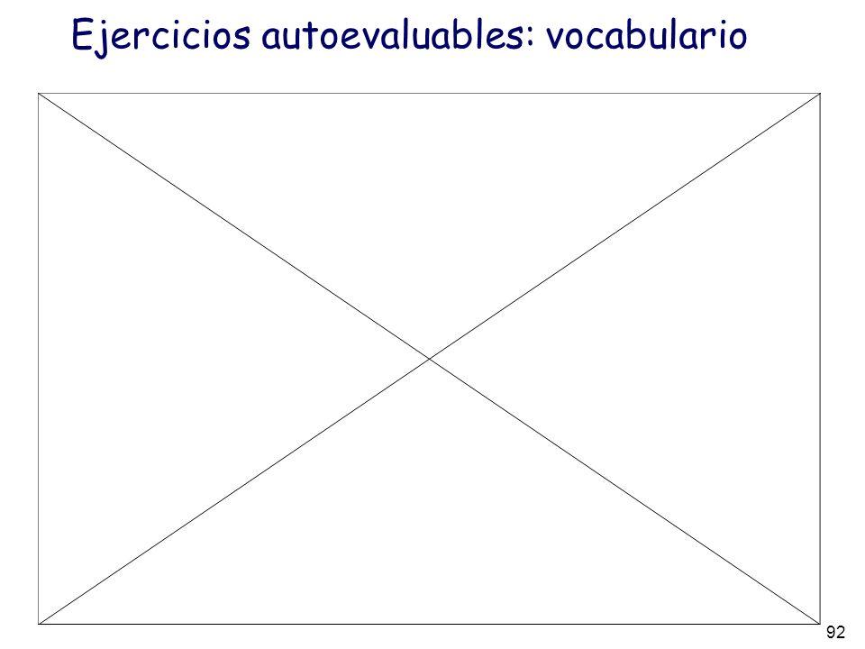 92 Ejercicios autoevaluables: vocabulario