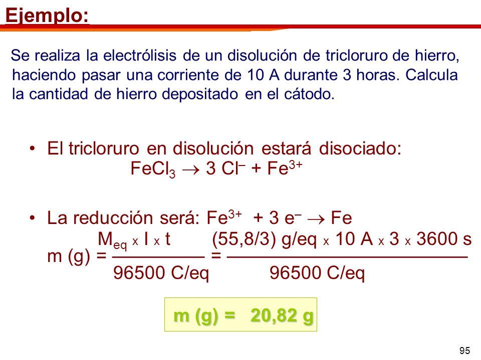 95 Se realiza la electrólisis de un disolución de tricloruro de hierro, haciendo pasar una corriente de 10 A durante 3 horas. Calcula la cantidad de h