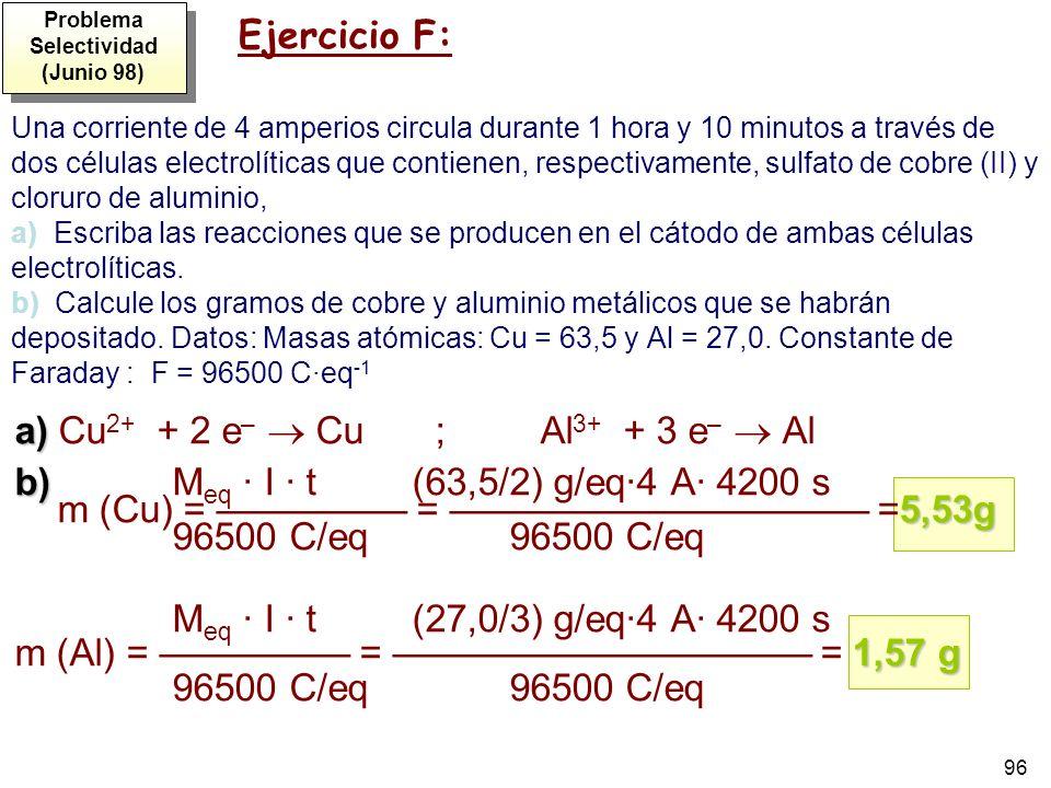 96 Una corriente de 4 amperios circula durante 1 hora y 10 minutos a través de dos células electrolíticas que contienen, respectivamente, sulfato de c