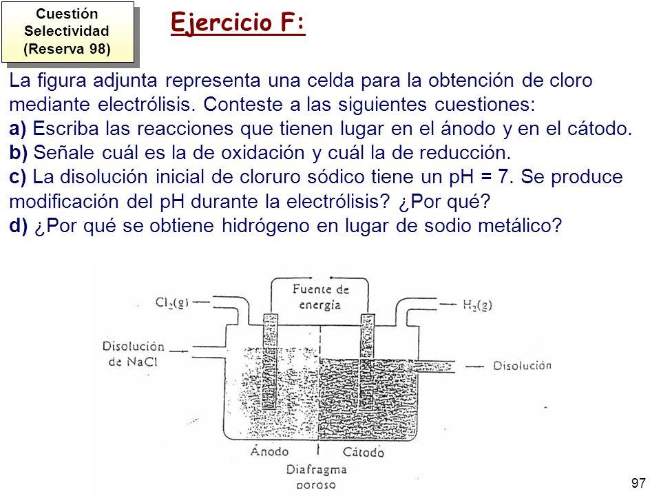 97 La figura adjunta representa una celda para la obtención de cloro mediante electrólisis. Conteste a las siguientes cuestiones: a) Escriba las reacc