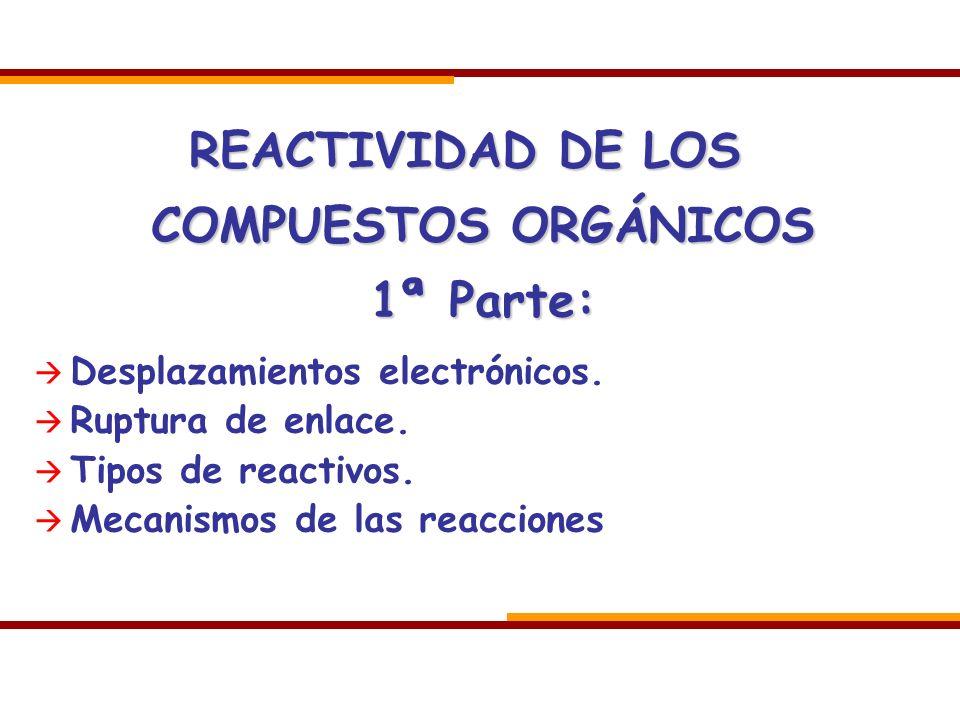 REACTIVIDAD DE LOS COMPUESTOS ORGÁNICOS 1ª Parte: Desplazamientos electrónicos. Ruptura de enlace. Tipos de reactivos. Mecanismos de las reacciones
