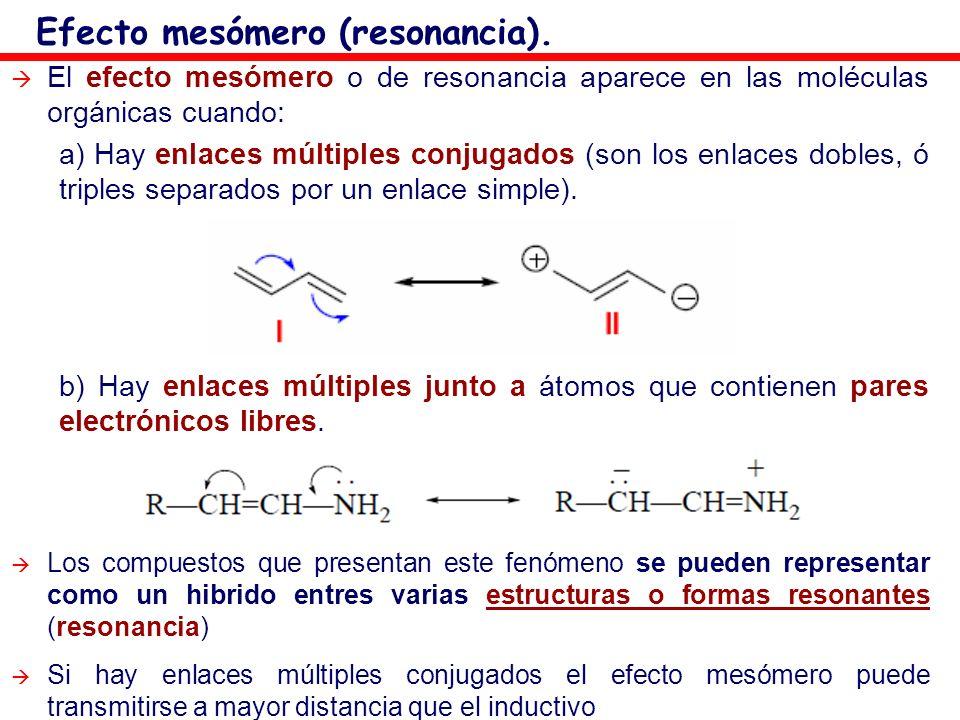 El efecto mesómero o de resonancia aparece en las moléculas orgánicas cuando: a) Hay enlaces múltiples conjugados (son los enlaces dobles, ó triples s
