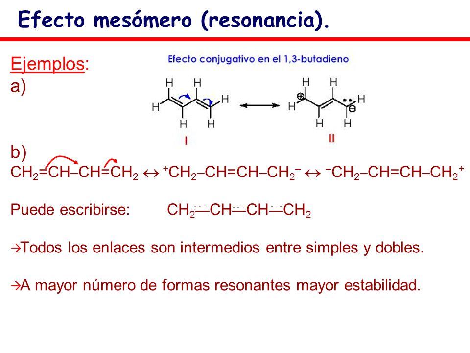 Ejemplos: a) b) CH 2 =CH – CH=CH 2 + CH 2 – CH=CH – CH 2 – – CH 2 – CH=CH – CH 2 + Puede escribirse:CH 2 CH CH CH 2 Todos los enlaces son intermedios