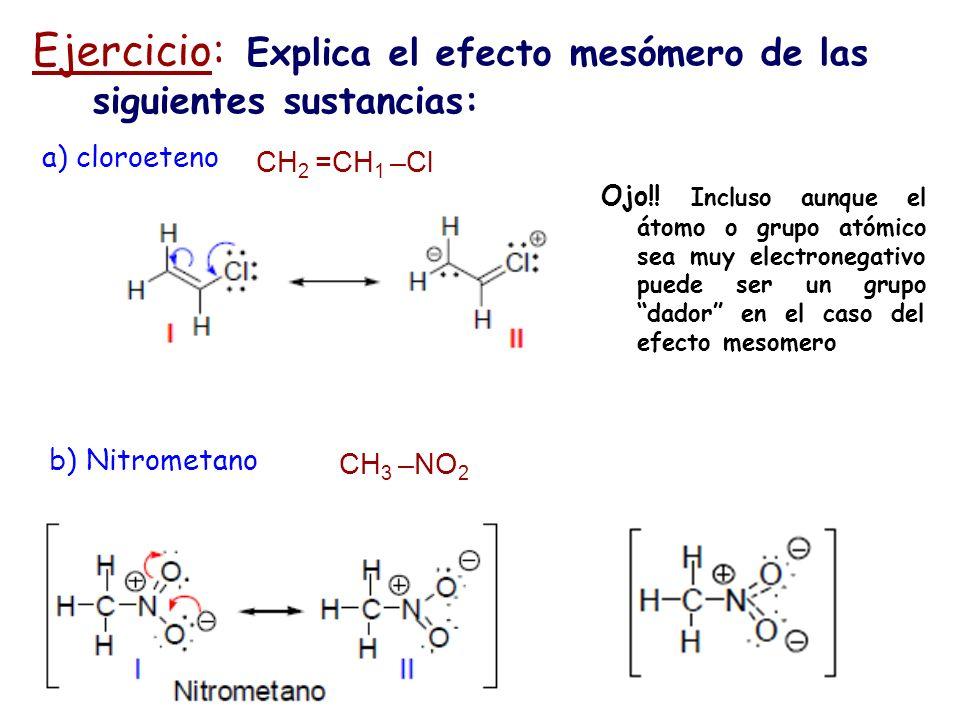 Ejercicio: Explica el efecto mesómero de las siguientes sustancias: CH 3 –NO 2 a) cloroeteno CH 2 =CH 1 –Cl Ojo!! Incluso aunque el átomo o grupo atóm