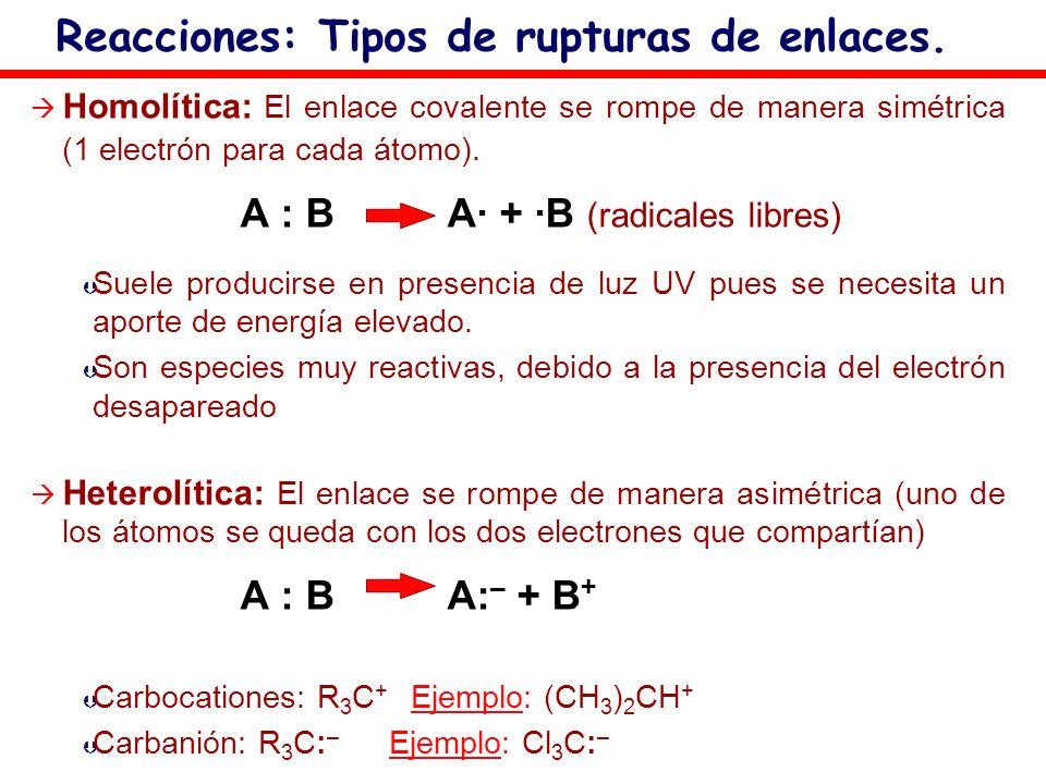 Homolítica: El enlace covalente se rompe de manera simétrica (1 electrón para cada átomo). A : B A· + ·B (radicales libres) Þ Þ Suele producirse en pr