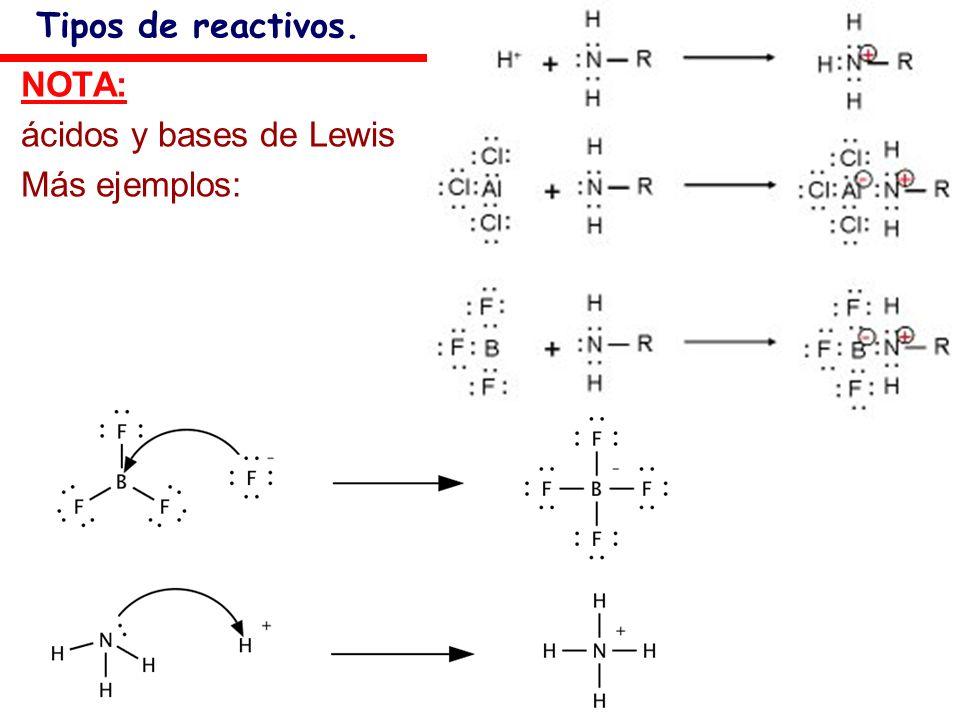 Tipos de reactivos. NOTA: ácidos y bases de Lewis Más ejemplos: