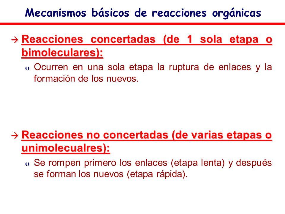 Mecanismos básicos de reacciones orgánicas Reacciones concertadas (de 1 sola etapa o bimoleculares): Reacciones concertadas (de 1 sola etapa o bimolec