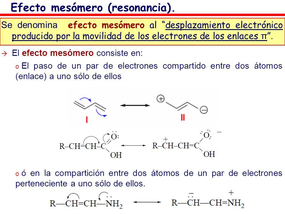 Se denomina efecto mesómero al desplazamiento electrónico producido por la movilidad de los electrones de los enlaces π. El efecto mesómero consiste e
