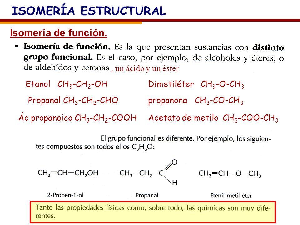 Isomería de función. Etanol CH 3 -CH 2 -OHDimetiléter CH 3 -O-CH 3 Propanal CH 3 -CH 2 -CHOpropanona CH 3 -CO-CH 3, un ácido y un éster Ác propanoico