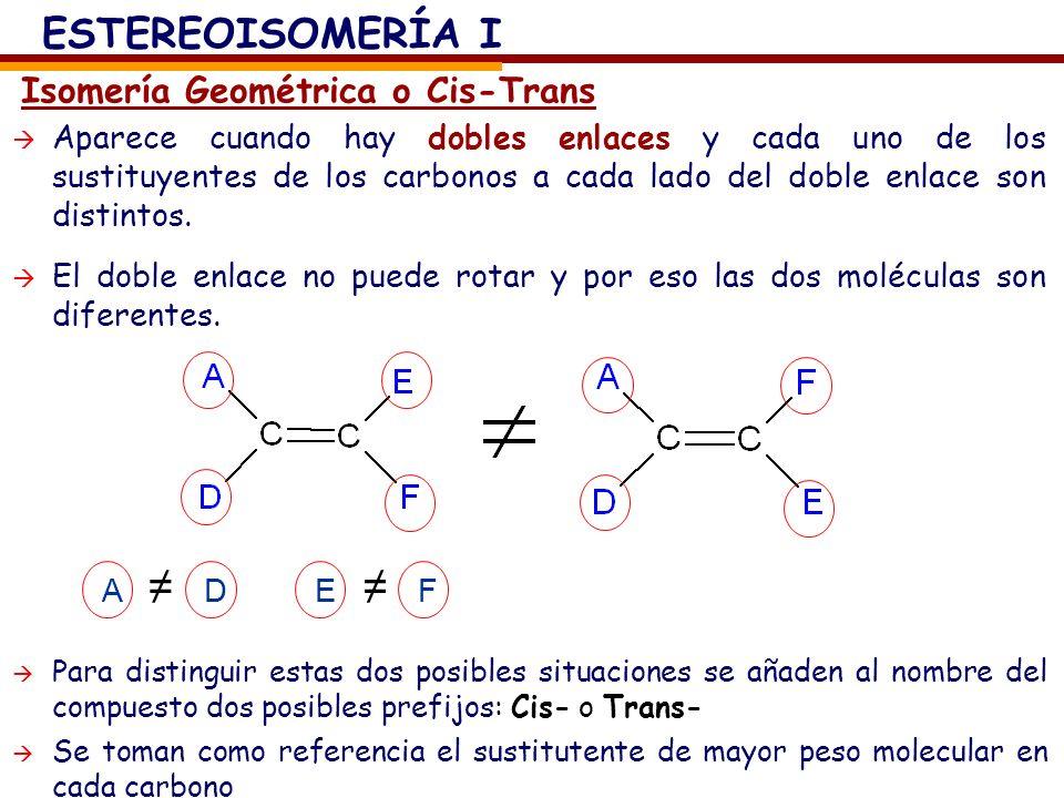 Aparece cuando hay dobles enlaces y cada uno de los sustituyentes de los carbonos a cada lado del doble enlace son distintos. El doble enlace no puede