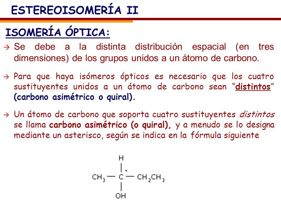 ISOMERÍA ÓPTICA: ESTEREOISOMERÍA II Se debe a la distinta distribución espacial (en tres dimensiones) de los grupos unidos a un átomo de carbono. Para