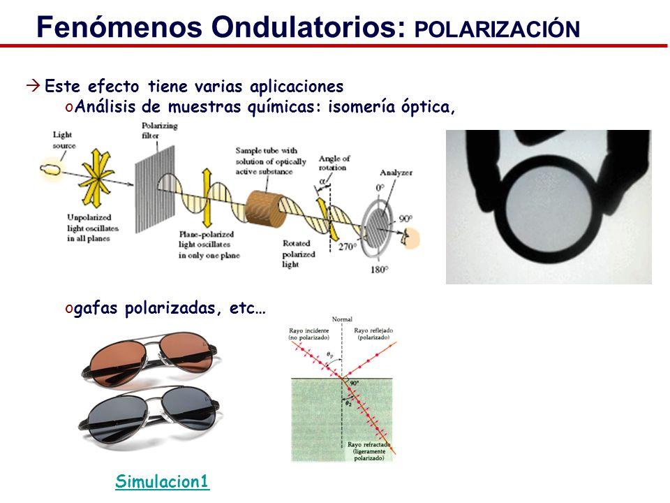 Fenómenos Ondulatorios: POLARIZACIÓN Este efecto tiene varias aplicaciones oAnálisis de muestras químicas: isomería óptica, ogafas polarizadas, etc… S