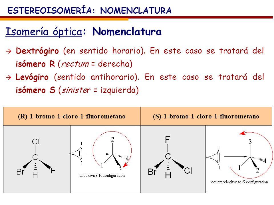 Isomería óptica: Nomenclatura ESTEREOISOMERÍA: NOMENCLATURA Dextrógiro (en sentido horario). En este caso se tratará del isómero R (rectum = derecha)