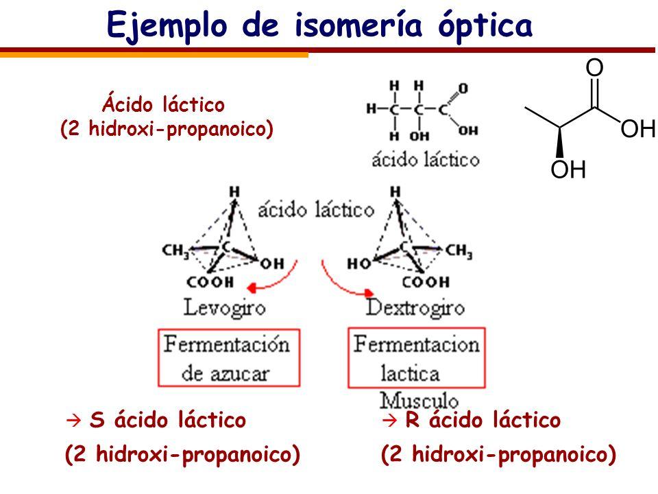 Ejemplo de isomería óptica S ácido láctico (2 hidroxi-propanoico) R ácido láctico (2 hidroxi-propanoico) Ácido láctico (2 hidroxi-propanoico)
