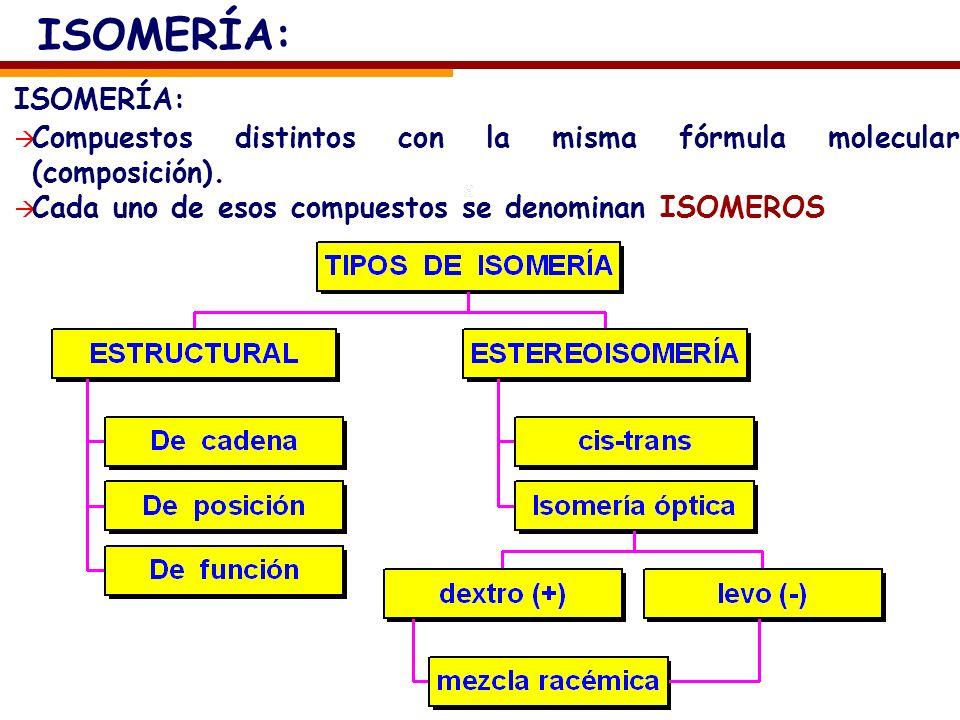 ISOMERÍA: Compuestos distintos con la misma fórmula molecular (composición). Cada uno de esos compuestos se denominan ISOMEROS