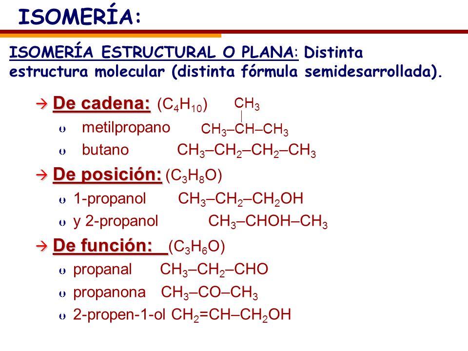 De cadena: De cadena: (C 4 H 10 ) Þ Þ metilpropano Þ Þ butano CH 3 –CH 2 –CH 2 –CH 3 De posición: De posición: (C 3 H 8 O) Þ Þ 1-propanol CH 3 –CH 2 –