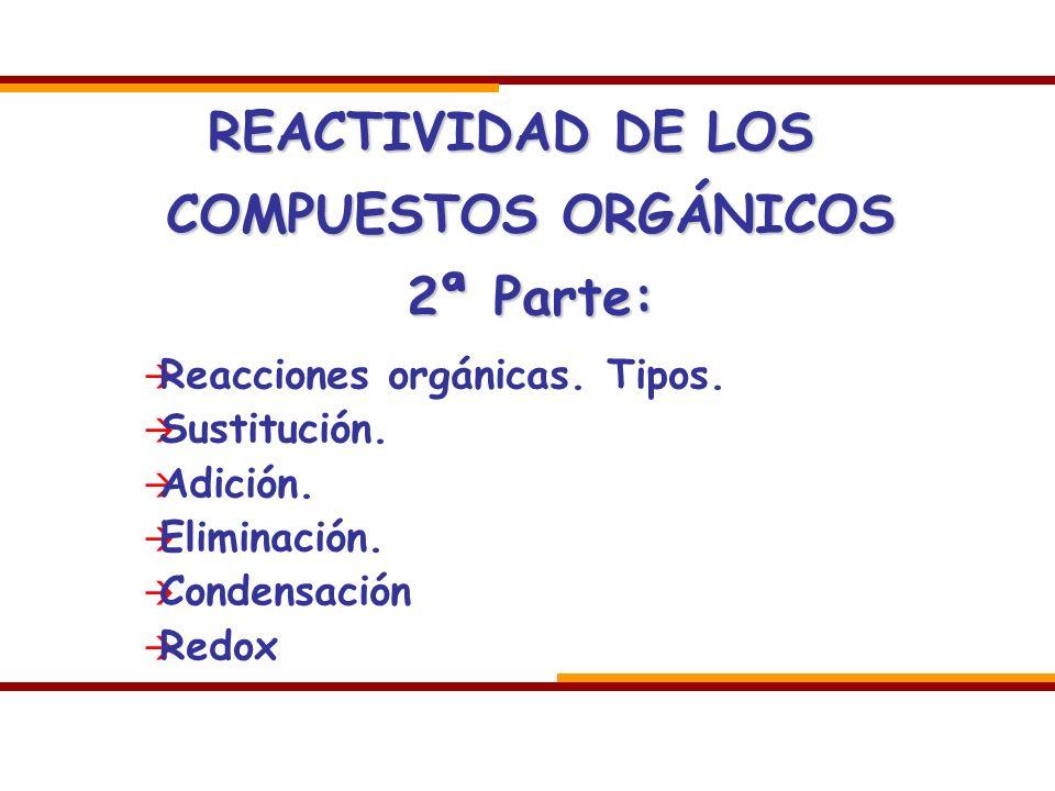 REACTIVIDAD DE LOS COMPUESTOS ORGÁNICOS 2ª Parte: Reacciones orgánicas. Tipos. Sustitución. Adición. Eliminación. Condensación Redox