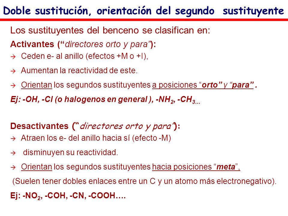 Doble sustitución, orientación del segundo sustituyente Los sustituyentes del benceno se clasifican en: Activantes (directores orto y para): Ceden e-