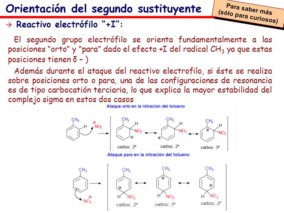 Orientación del segundo sustituyente El segundo grupo electrófilo se orienta fundamentalmente a las posiciones orto y para dado el efecto +I del radic