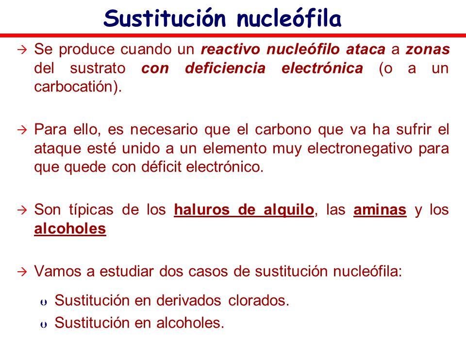 Sustitución nucleófila Se produce cuando un reactivo nucleófilo ataca a zonas del sustrato con deficiencia electrónica (o a un carbocatión). Para ello