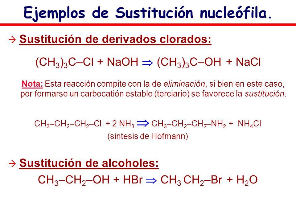Ejemplos de Sustitución nucleófila. Sustitución de derivados clorados: (CH 3 ) 3 C–Cl + NaOH (CH 3 ) 3 C–OH + NaCl Nota: Esta reacción compite con la