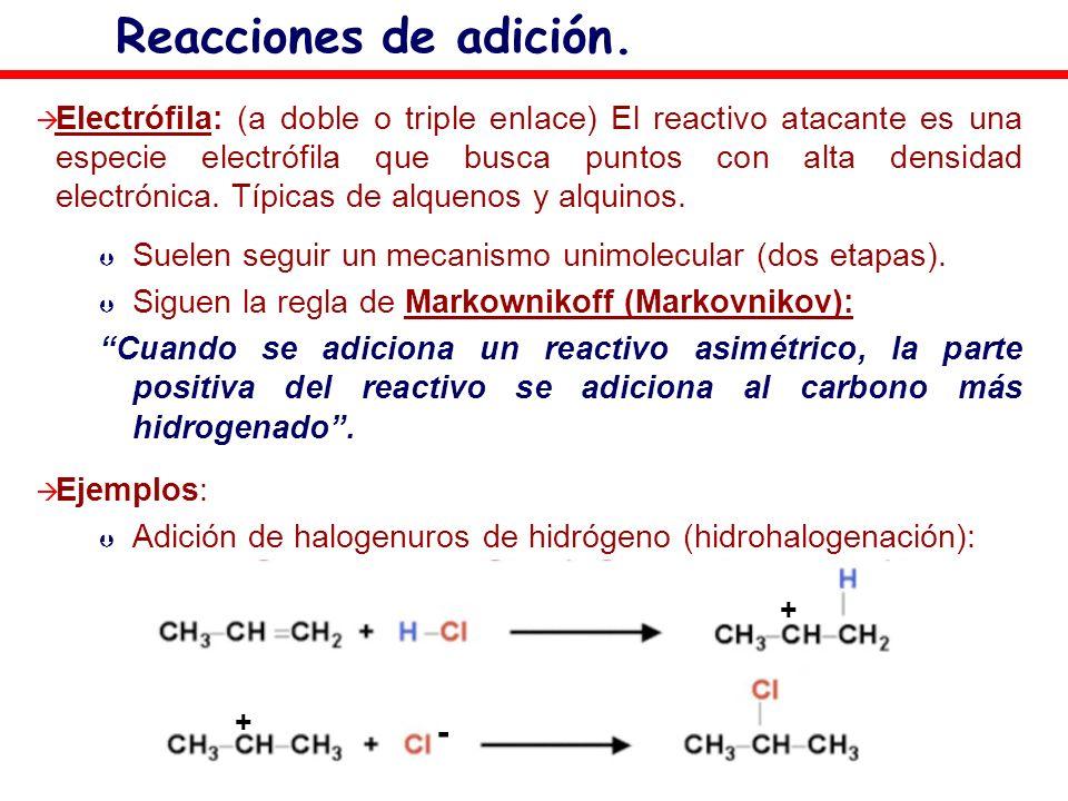 Reacciones de adición. Electrófila: (a doble o triple enlace) El reactivo atacante es una especie electrófila que busca puntos con alta densidad elect