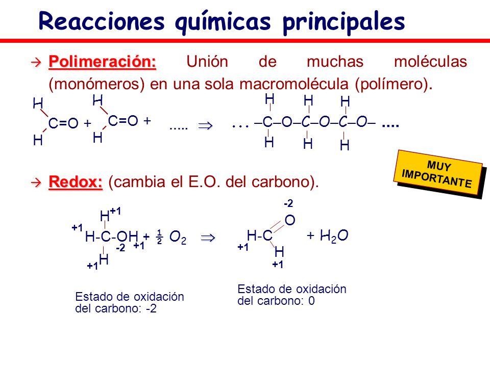 Polimeración: Polimeración: Unión de muchas moléculas (monómeros) en una sola macromolécula (polímero). Redox: Redox: (cambia el E.O. del carbono). Re