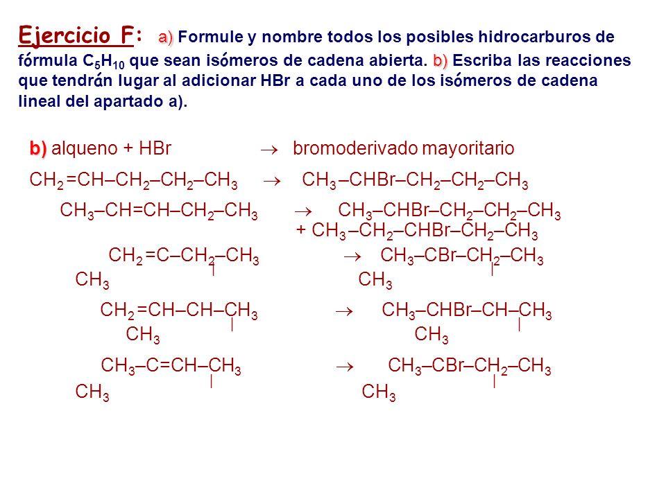 b) b) alqueno + HBr bromoderivado mayoritario CH 2 =CH–CH 2 –CH 2 –CH 3 CH 3 –CHBr–CH 2 –CH 2 –CH 3 CH 3 –CH=CH–CH 2 –CH 3 CH 3 –CHBr–CH 2 –CH 2 –CH 3