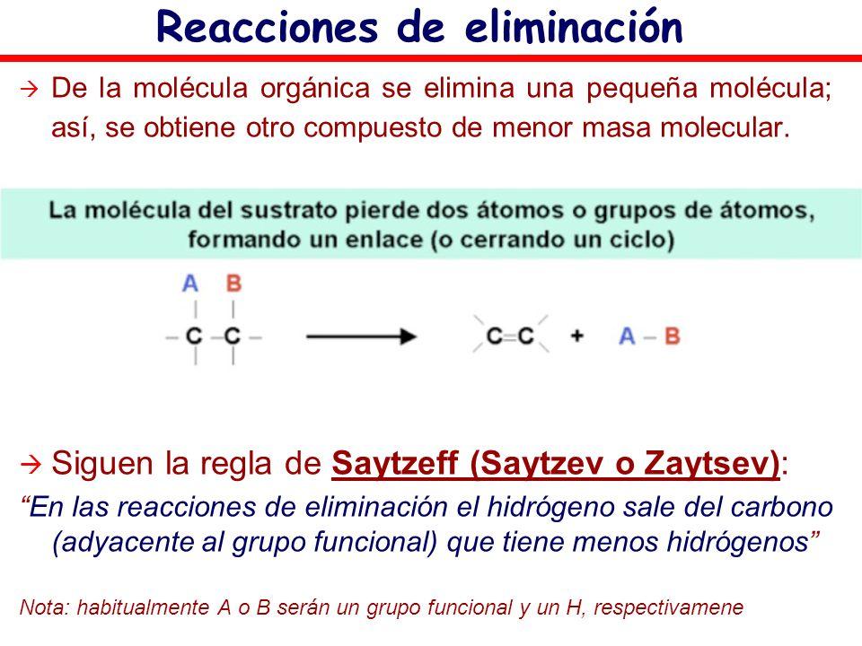 Reacciones de eliminación De la molécula orgánica se elimina una pequeña molécula; así, se obtiene otro compuesto de menor masa molecular. Siguen la r