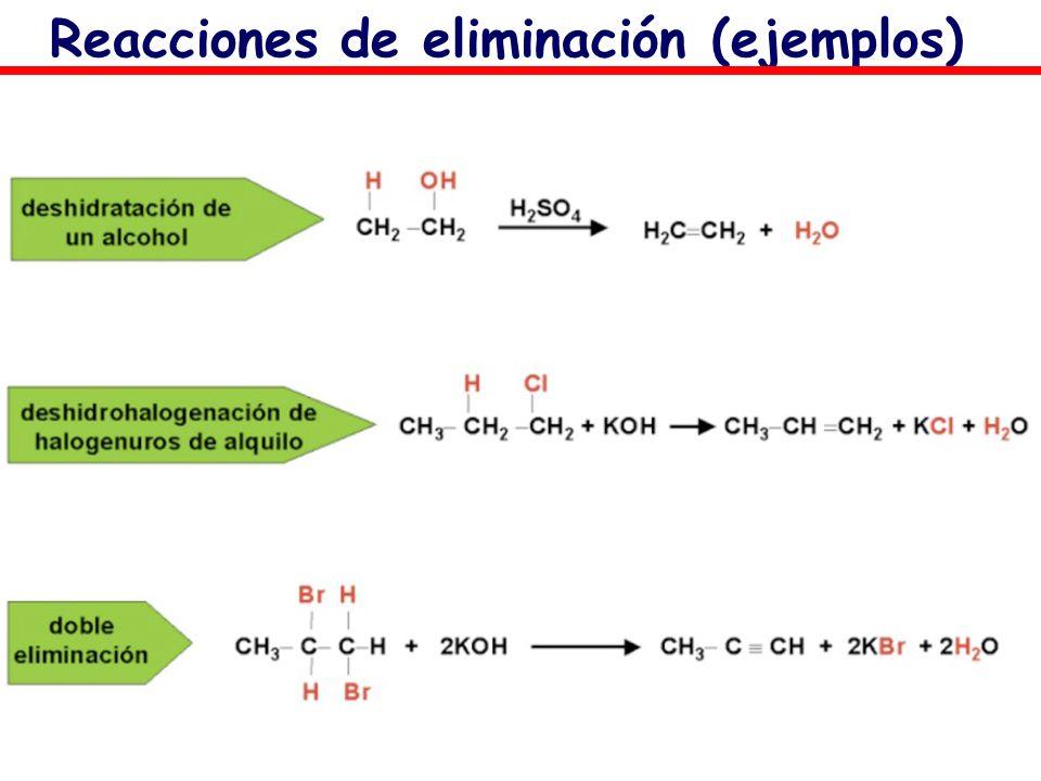 Reacciones de eliminación (ejemplos)