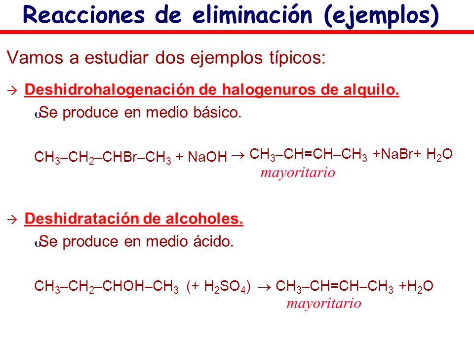 Vamos a estudiar dos ejemplos típicos: Deshidrohalogenación de halogenuros de alquilo. Þ Se produce en medio básico. CH 3 –CH 2 –CHBr–CH 3 + NaOH Desh