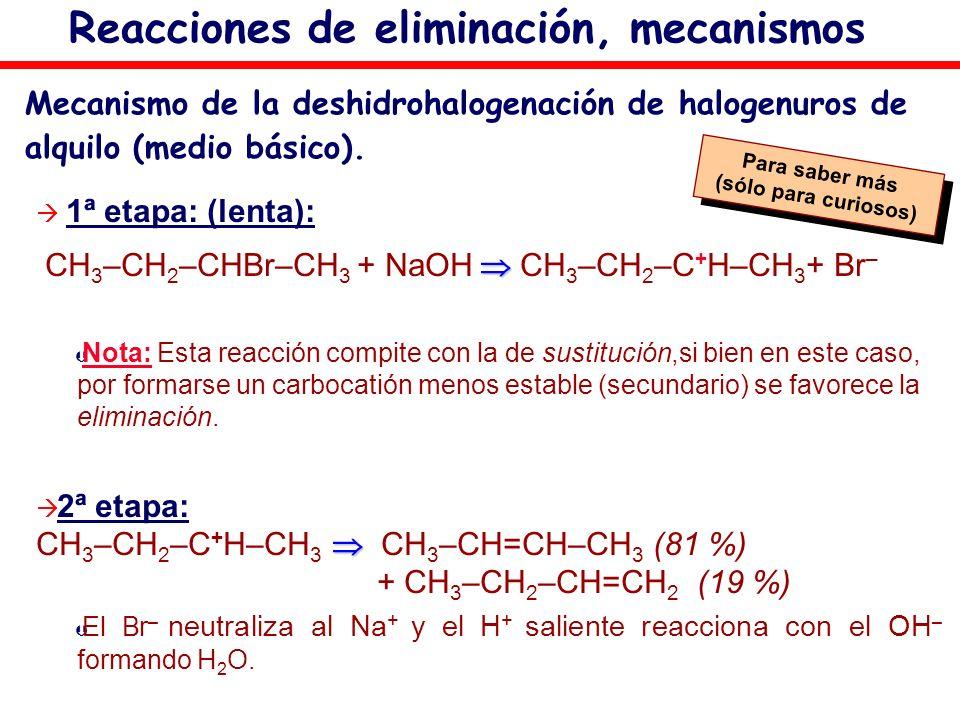 Mecanismo de la deshidrohalogenación de halogenuros de alquilo (medio básico). 1ª etapa: (lenta): CH 3 –CH 2 –CHBr–CH 3 + NaOH CH 3 –CH 2 –C + H–CH 3