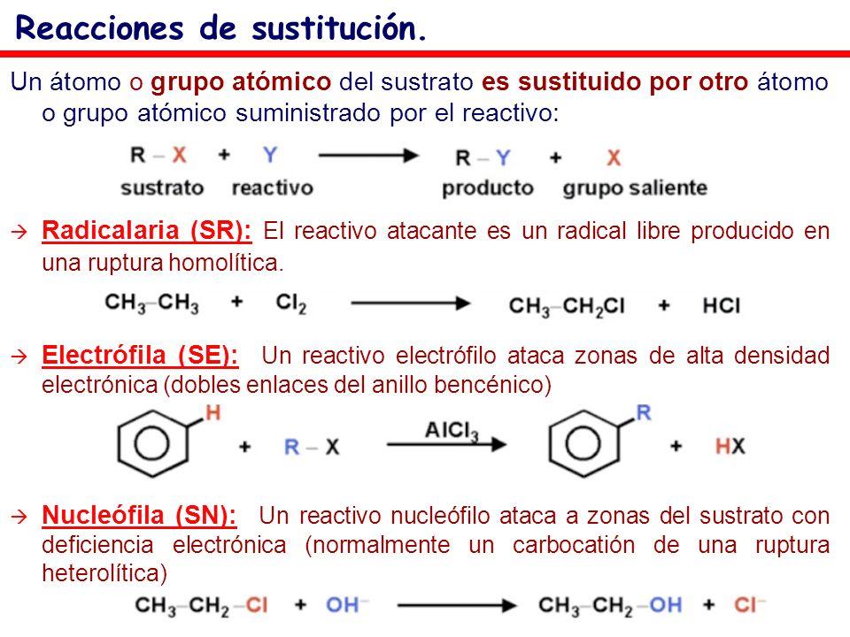 Un átomo o grupo atómico del sustrato es sustituido por otro átomo o grupo atómico suministrado por el reactivo: Radicalaria (SR): El reactivo atacant